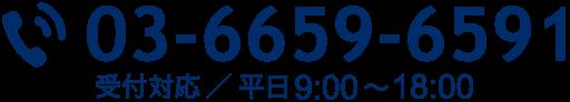 03-6659-6591。受付対応/平日9:00〜18:00